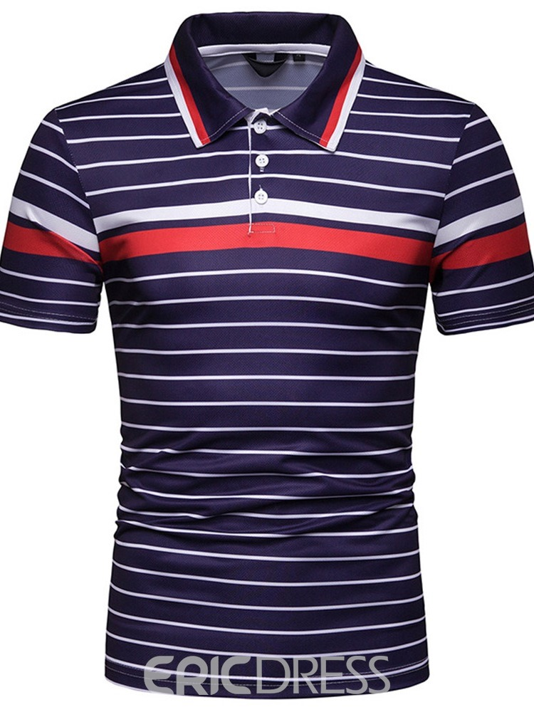 Ericdress Striped Quarter Button Mens Casual Polo Shirt