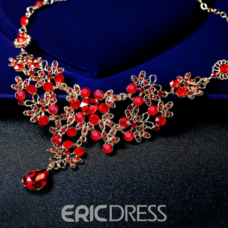 Floral Earrings Necklace European Jewelry Sets (Wedding)