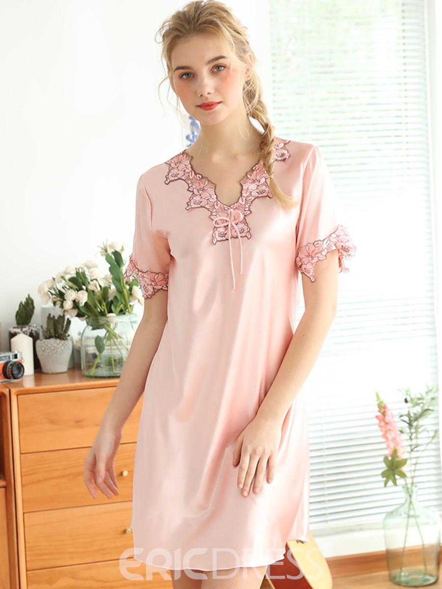 Ericdress Regular Patchwork V-Neck Sexy Nightgowns