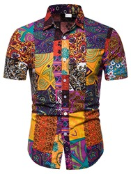 Ericdress Floral Printed Patchwork Mens Casual Summer Shirt фото
