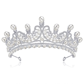 Pearls Inlaid Tiara Crown Hair Accessories (Wedding)