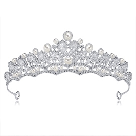 Pearl Inlaid Crown Tiara Hair Accessories (Wedding)