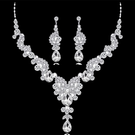 Floral Necklace Gemmed Jewelry Sets (Wedding)