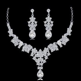 Gemmed European Necklace Wedding Jewelry Sets