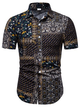 Ericdress Lapel Printed Single-Breasted Mens Shorts Sleeve Shirt
