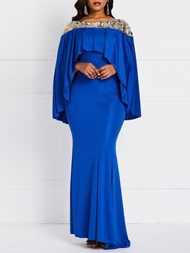 Ericdress Floor-Length Patchwork Long Sleeve Plain Party/Cocktail Dress