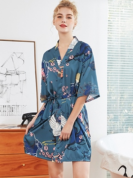 Ericdress Floral Print Lace-Up Summer Half Sleeve Night-Robes