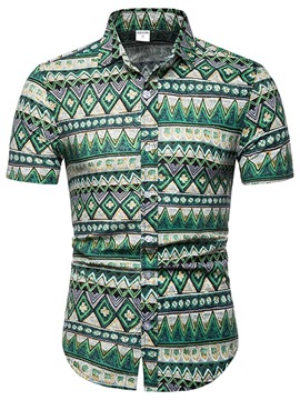 Ericdress Geometric Print European Mens Short Sleeve Shirt