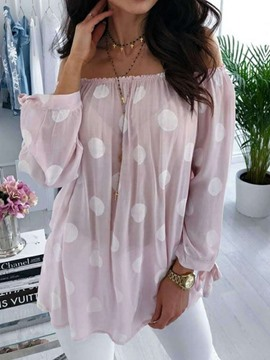 Ericdress Polka Dots Lantern Sleeve Print Mid-Length Nine Points Sleeve Blouse