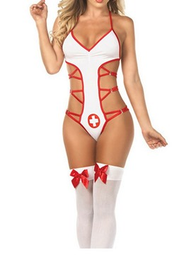 Ericdress Color Block Print Spandex Sleeveless Nurse Sexy Costumes