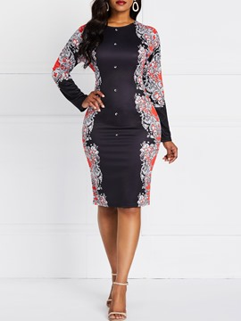 Ericdress Print Color Block Round Neck Long Sleeve Knee-Length Floral Dress