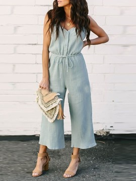 Ericdress Strap Lace-Up Plain Loose Wide Legs Jumpsuit