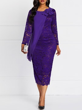 Ericdress Hollow Lace Falbala Plain Pullover Dress