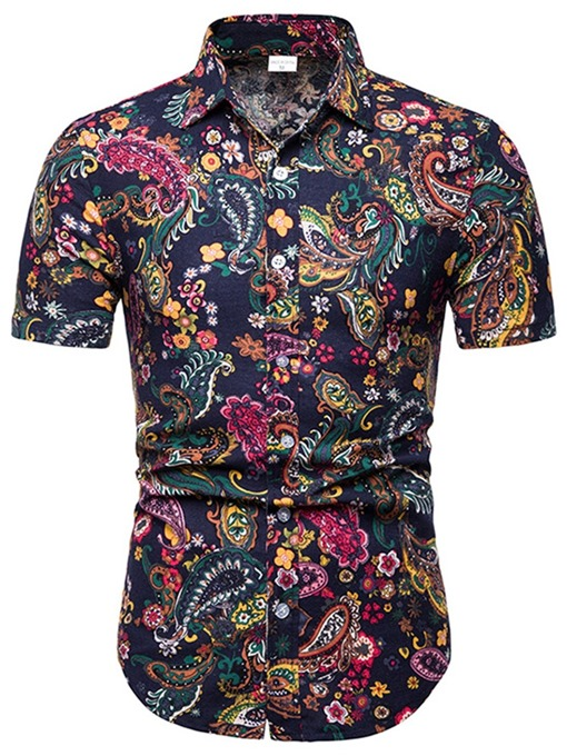 Ericdress Floral Print Single-Breasted Mens Summer Shirt