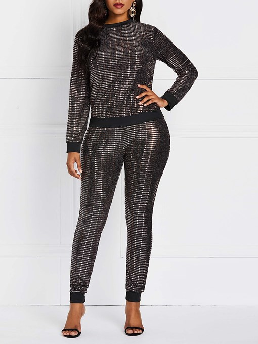 Ericdress Sequins Party Pullover T-shirt And Pants Two Piece Sets