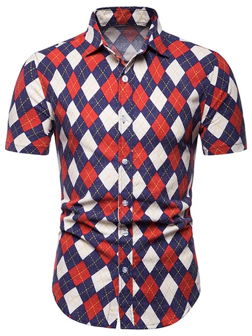 Ericdress Geometric Print Lapel Slim Mens Single-Breasted Shirt
