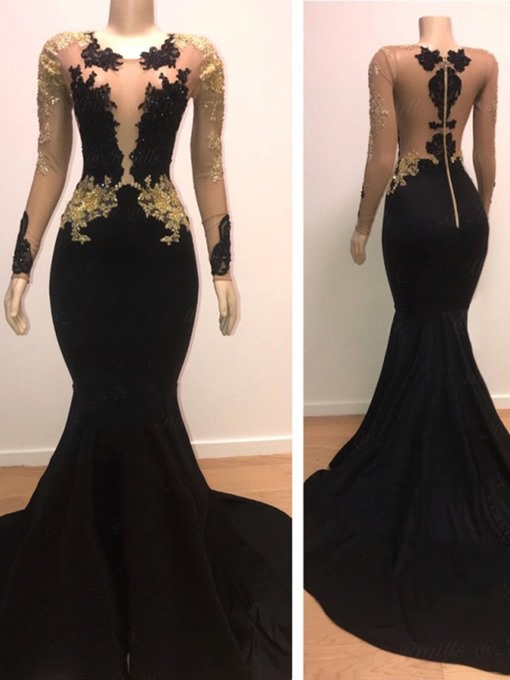 Ericdress Long Sleeves Trumpet/Mermaid Appliques Scoop Evening Dress Black Wedding Dresses