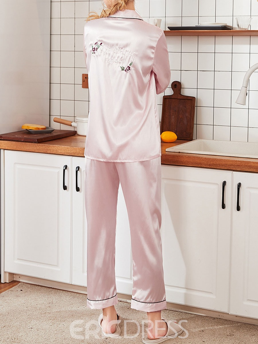 Ericdress Simple Floral Embroidery Regular Long Sleeve Pajama Suit