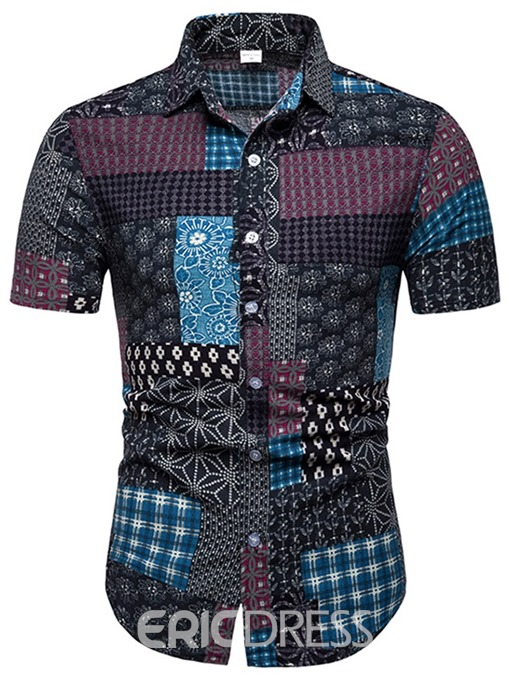 Ericdress Patchwork Floral Printed Lapel Mens Shorts Sleeve Shirt
