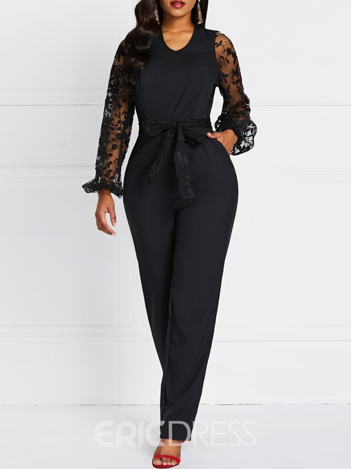 Ericdress Lace Plain See-Through Patchwork Slim Jumpsuit