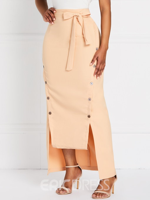 Ericdress Plain Asymmetrical Button Belt Date Night Plain Skirt