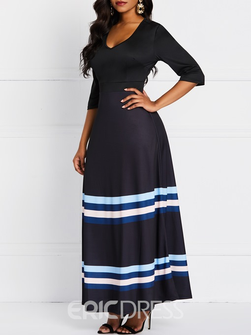 Ericdress Ankle-Length Patchwork Three-Quarter Sleeve Casual A-Line Dress