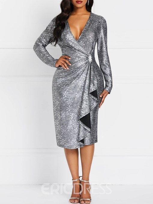 Ericdress Mid-Calf V-Neck Long Sleeve Pullover Date Night Dress