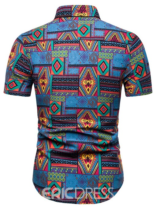 Ericdress Geometric Floral Ethnic Print Mens Short Sleeve Shirt