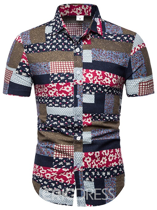 Ericdress Printed Patchwork Mens Summer Slim Shirt