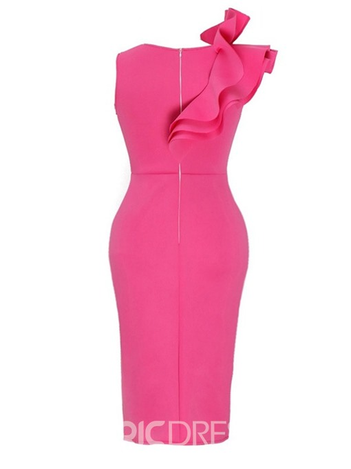 Ericdress Sleeveless Falbala Mid-Calf Bodycon Plain Dress
