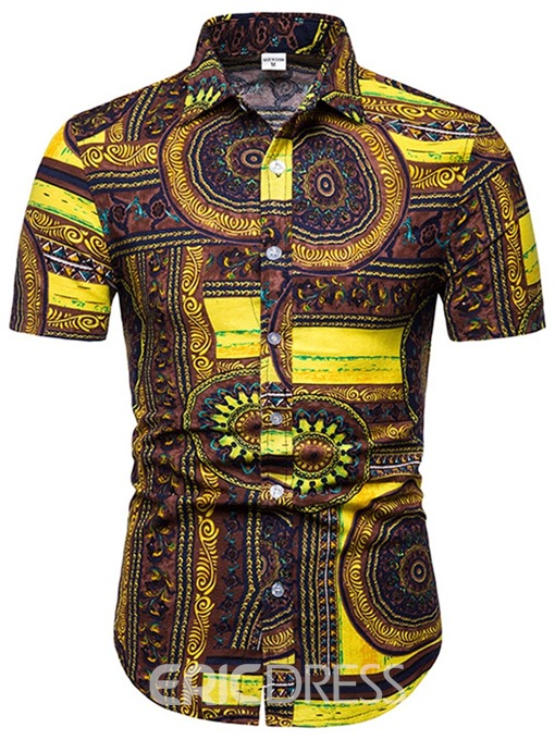 Ericdress Geometric Print Mens Single-Breasted Casual Shirt