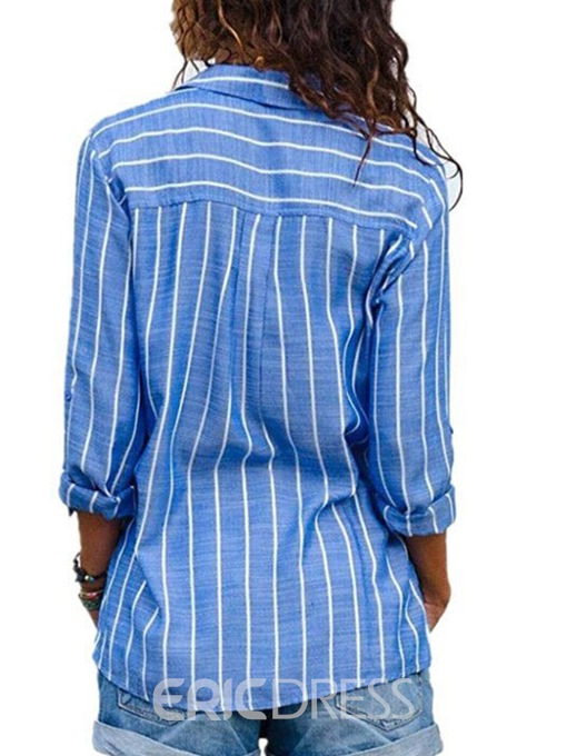 Ericdress Stripe Single-Breastel Long Sleeve Standard Blouse
