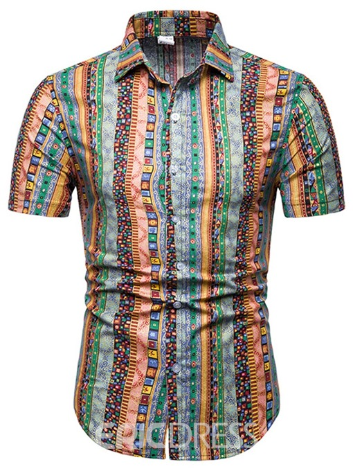 Ericdress Printed Vertical Striped European Mens Short Sleeve Shirt
