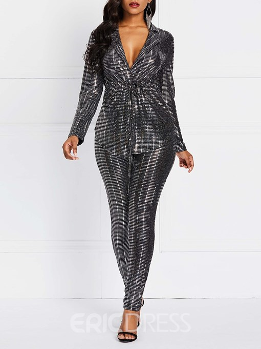 Ericdress Party Sequins Lace-Up Coats And Pants Two Piece Sets