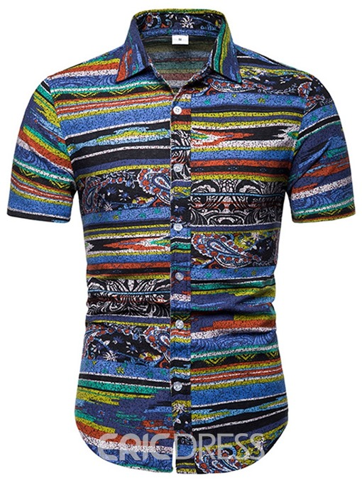 Ericdress Floral Striped Print Mens Shorts Sleeve Casual Shirt
