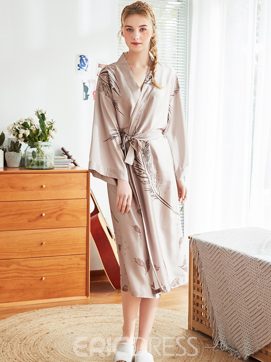 Ericdress Leaves Print Lace-Up Polyester Sexy Night-Robes