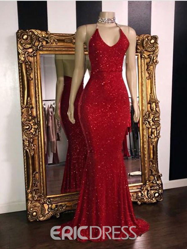 Ericdress Mermaid Sleeveless Spaghetti Straps Backless Evening Dress 2019