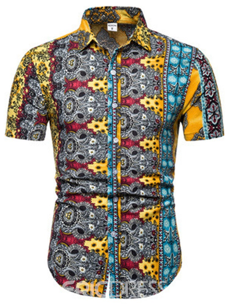 Ericdress Print Floral Single-Breasted Mens Shirt