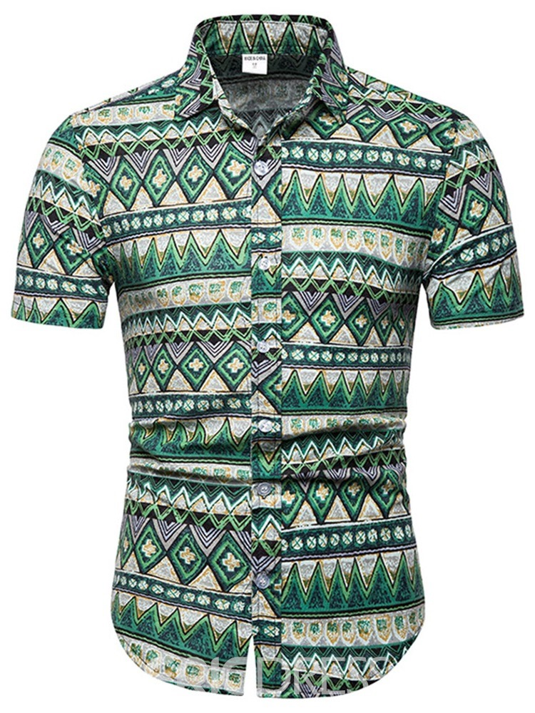 Ericdress Geometric Print Mens Short Sleeve Shirt