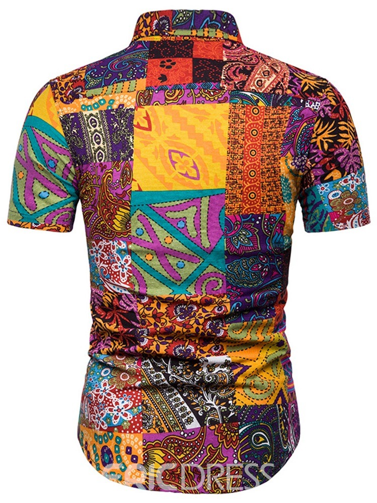 Ericdress Floral Printed Patchwork Mens Casual Summer Shirt