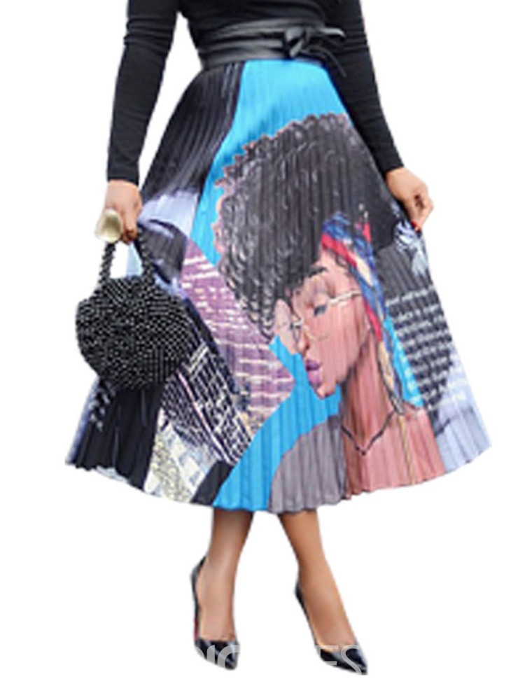 Ericdress African Fashion Pleated Cartoon Mid-Calf Causal Skirt(Without Belt)