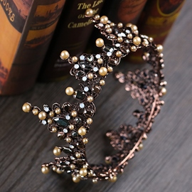 Tiara Crown Pearl Inlaid Hair Accessories (Wedding)