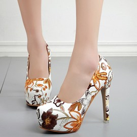 Ericdress Floral Round Toe Platform Stiletto Heel Women's Pumps