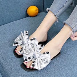 Ericdress Rhinestone Bow Block Heel Slip-On Women's Slippers