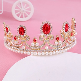 Tiara Crown Gemmed Pearl Hair Accessories (Wedding)