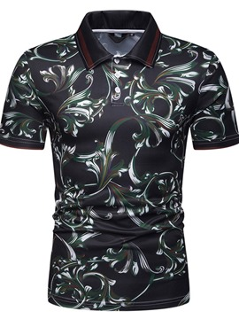 Ericdress Floral Print Mens Casual Polo Shirt