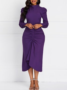 Ericdress Mid-Calf Asymmetric Long Sleeve Pullover Asymmetrical Dress