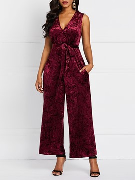 Ericdress CorduroyLace-Up Plain Straight High Waist Jumpsuit