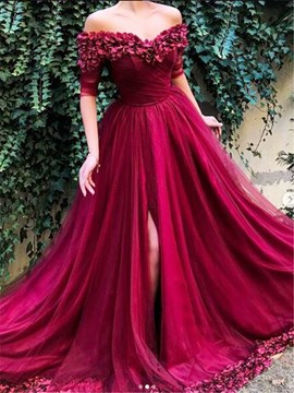 Ericdress A-Line Pleats Half Sleeves Off-The-Shoulder Evening Dress 2019