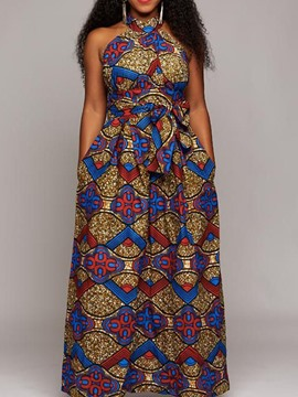Ericdress Floor-Length Lace-Up Stand Collar A-Line African Fashion Dress